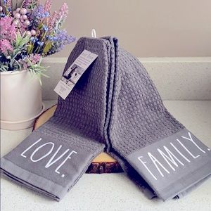 RAE DUNN LOVE FAMILY EMBROIDERED KITCHEN TOWELS